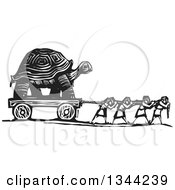 Black And White Woodcut People Pulling A Giant Tortoise