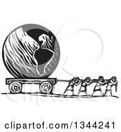Clipart Of Black And White Woodcut People Pulling Planet Earth Royalty Free Vector Illustration
