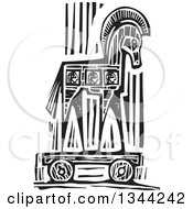Clipart Of A Black And White Woodcut Greek Trojan Horse Royalty Free Vector Illustration