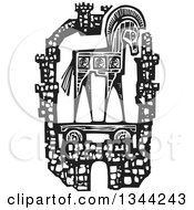 Clipart Of A Black And White Woodcut Greek Trojan Horse Within The Walls Of The City Of Troy Royalty Free Vector Illustration