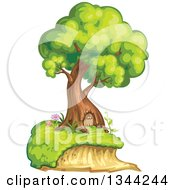 Clipart Of A Mature Tree Home With A Door Royalty Free Vector Illustration by merlinul