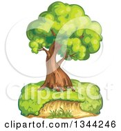 Clipart Of A Mature Tree On A Hill Royalty Free Vector Illustration by merlinul