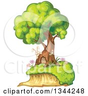 Clipart Of A Rabbit By A Tree Home With A Door Royalty Free Vector Illustration by merlinul