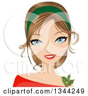 Young Blue Eyed Caucasian Woman Wearing A Dark Green Head Band And Christmas Holly Accessory