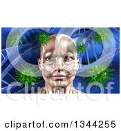 Clipart Of A 3d Blue Toned Medical Anatomical Man With Visible Face Muscles Over A Blue Virus And Dna Background Royalty Free Illustration