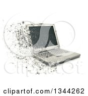 Clipart Of A 3d Pixelating Laptop Computer Over White Royalty Free Illustration by KJ Pargeter