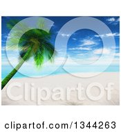 Clipart Of A 3d White Sand Beach And Leaning Palm Tree Tropical Beach With The Ocean And Shining Sun Royalty Free Illustration