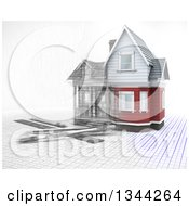 Clipart Of A Half 3d Half Sketched Custom Home With Drafting Tools On Blueprints Over White 2 Royalty Free Illustration