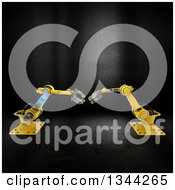 Clipart Of 3d Yellow Industrial Robotic Arms Over Metal Royalty Free Illustration