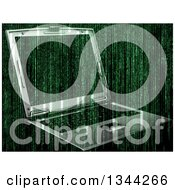 Clipart Of A 3d Laptop Computer And Green Binary Coding Royalty Free Illustration