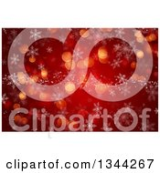 Clipart Of A Christmas Winter Background Of Snowflakes And Bokeh Flares Over Red Royalty Free Illustration
