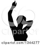 Clipart Of A Black Silhouetted Party Woman Dancing 2 Royalty Free Vector Illustration