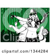 Black And White Young Man And Women Dancing Over Silhouetted People And Green Sparkly Stripes