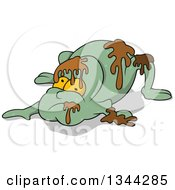 Clipart Of A Cartoon Frog Like Monster With Slime Royalty Free Vector Illustration by dero