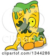Clipart Of A Cartoon Yellow Monster Sitting With Slime Royalty Free Vector Illustration