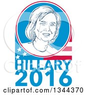 Clipart Of A Retro Portrait Of Hillary Clinton In A Circle Over A Partial American Flag And Text Royalty Free Vector Illustration