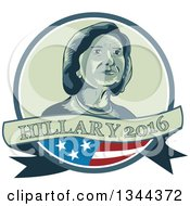 Clipart Of A Retro Portrait Of Hillary Clinton In A Circle With A Partical American Flag And Text Banner Royalty Free Vector Illustration