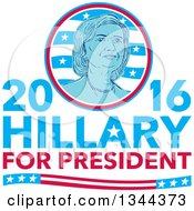 Clipart Of A Retro Portrait Of Hillary Clinton In A Circle Over Text Royalty Free Vector Illustration