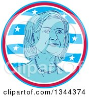 Clipart Of A Portrait Of Hillary Clinton In A Circle Of Waves And Stars Royalty Free Vector Illustration