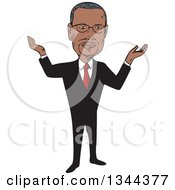 Clipart Of A Cartoon Caricature Of Ben Carson Shrugging Royalty Free Vector Illustration