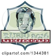 Clipart Of A Retro Portrait Of Marco Rubio With 2016 Text In A Shield Royalty Free Vector Illustration
