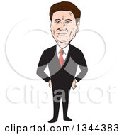 Clipart Of A Cartoon Caricature Of Rand Paul Standing With Hands On His Hips Royalty Free Vector Illustration