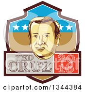Clipart Of A Retro Portrait Of Tex Cruz On A Shield With 2016 Text Royalty Free Vector Illustration