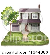 Clipart Of A Front Yard And Home Royalty Free Vector Illustration
