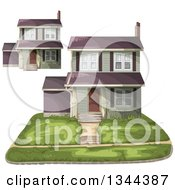 Clipart Of A Front Yard And Homes Royalty Free Vector Illustration