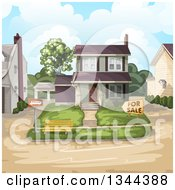 Clipart Of A Front Yard And Home For Sale With Neighbors Royalty Free Vector Illustration by merlinul