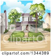 Clipart Of A Front Yard And Home With Neighbors Royalty Free Vector Illustration