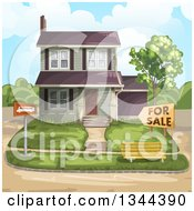 Clipart Of A Front Yard And Home For Sale Royalty Free Vector Illustration by merlinul