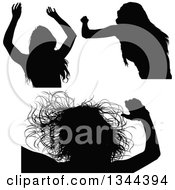 Clipart Of Black Silhouetted Party Women Dancing 2 Royalty Free Vector Illustration