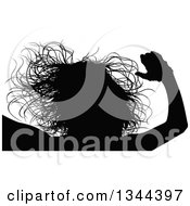 Clipart Of A Black Silhouetted Party Woman Dancing 7 Royalty Free Vector Illustration