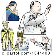 Clipart Of Popes Royalty Free Vector Illustration