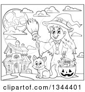 Lineart Clipart Of A Cartoon Black And White Happy Witch Girl With A Jackolantern Pumpkin Of Halloween Candy And A Cat By A Haunted House Royalty Free Outline Vector Illustration