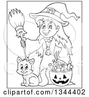 Lineart Clipart Of A Cartoon Black And White Happy Witch Girl With A Jackolantern Pumpkin Of Halloween Candy And A Cat Royalty Free Outline Vector Illustration