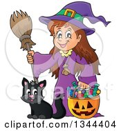 Clipart Of A Cartoon Happy Witch Girl With A Jackolantern Pumpkin Of Halloween Candy And A Black Cat Royalty Free Vector Illustration