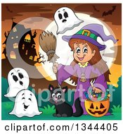 Clipart Of A Cartoon Happy Witch Girl With A Jackolantern Pumpkin Of Halloween Candy Ghosts And A Black Cat By A Haunted House Royalty Free Vector Illustration