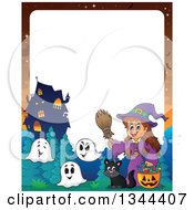 Clipart Of A Cartoon Border Of A Happy Witch Girl With A Jackolantern Pumpkin Of Halloween Candy Ghosts And A Black Cat By A Haunted House Royalty Free Vector Illustration