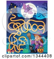 Clipart Of A Cartoon Happy Witch Girl With A Jackolantern Pumpkin Of Halloween Candy And A Black Cat Maze To A Haunted House Royalty Free Vector Illustration by visekart