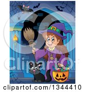 Clipart Of A Cartoon Happy Witch Girl With A Jackolantern Pumpkin Of Halloween Candy Bats And A Black Cat In A Haunted Hallway Royalty Free Vector Illustration