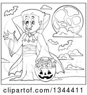 Lineart Clipart Of A Cartoon Black And White Dracula Vampire Waving And Holding A Jackolantern Basket With Halloween Candy Royalty Free Outline Vector Illustration