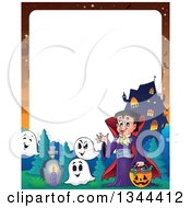 Clipart Of A Cartoon Border Of A Dracula Vampire Waving And Holding A Jackolantern Basket With Halloween Candy Ghosts And A Haunted House Royalty Free Vector Illustration