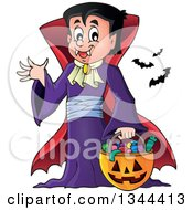 Cartoon Dracula Vampire Waving And Holding A Jackolantern Basket With Halloween Candy