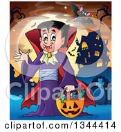 Clipart Of A Cartoon Dracula Vampire Waving And Holding A Jackolantern Basket With Halloween Candy And Bats In A Cemetery By A Haunted House Royalty Free Vector Illustration