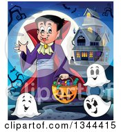 Clipart Of A Cartoon Dracula Vampire Waving And Holding A Jackolantern Basket With Halloween Candy And Ghosts By A Haunted House Royalty Free Vector Illustration
