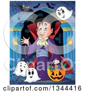 Clipart Of A Cartoon Dracula Vampire Waving And Holding A Jackolantern Basket With Halloween Candy With Bats And Ghosts In A Haunted Hallway Royalty Free Vector Illustration