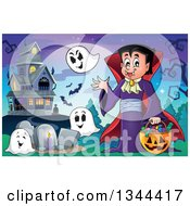 Clipart Of A Cartoon Dracula Vampire Waving And Holding A Jackolantern Basket With Halloween Candy And Ghosts In A Cemetery By A Haunted House Royalty Free Vector Illustration