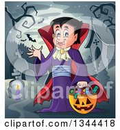 Clipart Of A Cartoon Dracula Vampire Waving And Holding A Jackolantern Basket With Halloween Candy In A Cemetery Royalty Free Vector Illustration